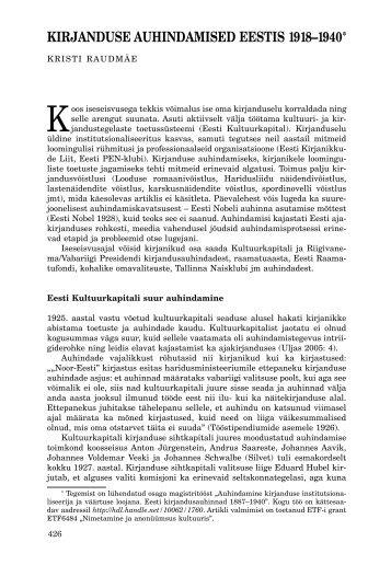 kirjanduse auhindamised eestis 1918–1940 - Keel ja Kirjandus