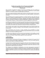 Coalition de la société civile du Processus de Kimberley Réunion de ...