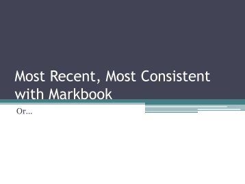 Most Recent, Most Consistent with Markbook - with david jones