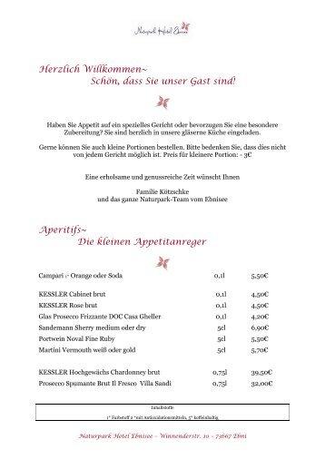Aktuelle Empfehlungskarte - Naturpark Hotel Ebnisee