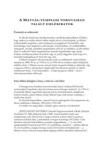 A MÁTYÁS-TEMPLOM TORNYAIBAN TALÁLT EMLÉKIRATOK