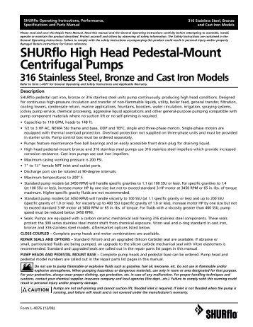 SHURflo High Head Pedestal-Mount Centrifugal Pumps