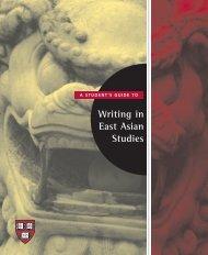 Writing in East Asian Studies - iSites - Harvard University