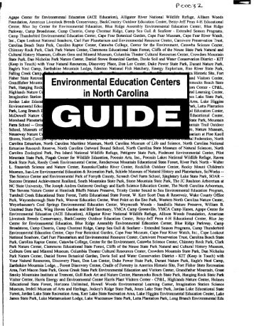 Environmental education centers in NC guide - P2 InfoHouse