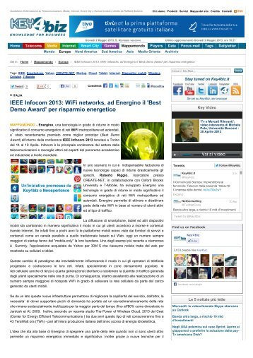 IEEE Infocom 2013: WiFi networks, ad Energino il 'Best ... - Create-Net