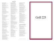 Wine List Wines by the Glass - Grill 225