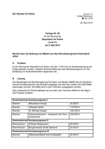 Bericht über die Nutzung von Mitteln aus dem Bundesprogramm ...