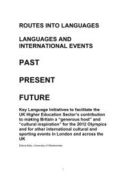 Final report: Languages and international events - Routes Into ...