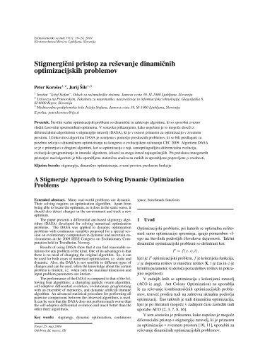 A stigmergic approach to solving dynamic optimization problems