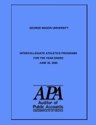 George Mason University Intercollegiate Athletics Programs for the ...