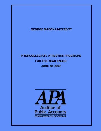 George Mason University Intercollegiate Athletics Programs for the ...