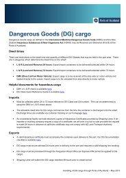 (DG) cargo - Ports of Auckland