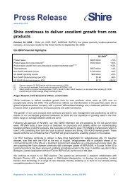 Microsoft Word - Q3 2009 Press Release 30 Oct - Shire