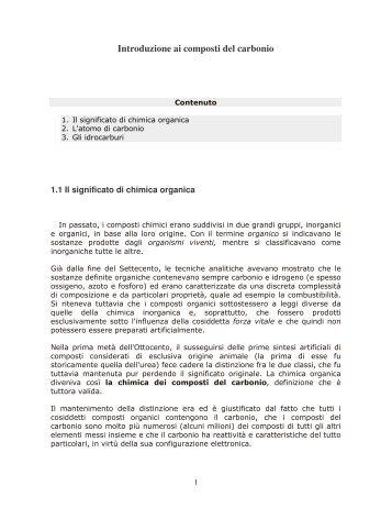 Introduzione ai composti del carbonio - Dipartimento di Chimica