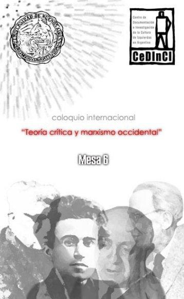 Mesa 6: György Lukács: estética y política - CeDInCI