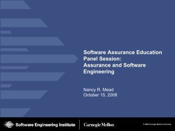 Assurance and Software Engineering - Build Security In