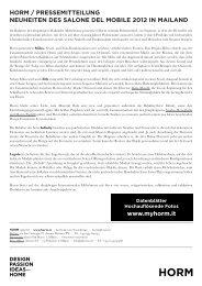 horm / pressemitteilung neuheiten des salone del mobile 2012 in ...