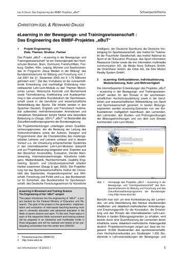 eLearning in der Bewegungs- und Trainingswissenschaft : Das - dvs