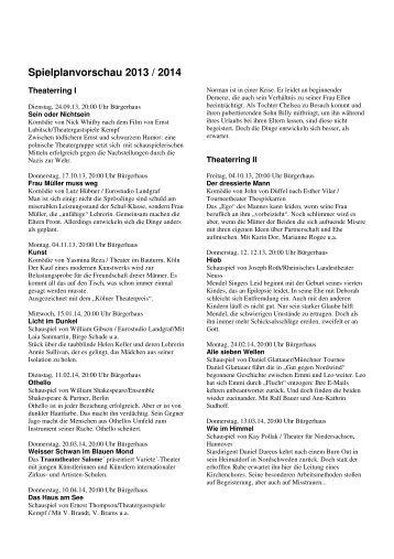 Spielzeit 2013 / 2014 - Neues aus der Kultur