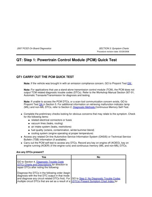 QT: Step 1: Powertrain Control Module (PCM) Quick Test