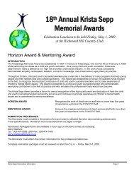 18th Annual Krista Sepp Memorial Awards - Children's Mental ...