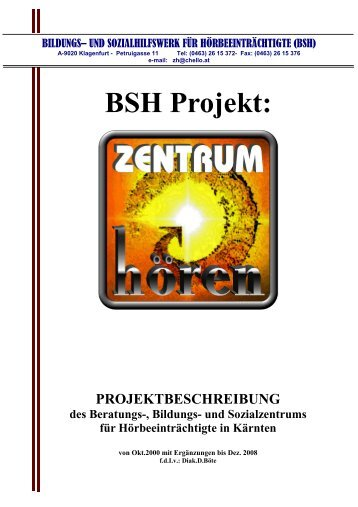 Projektbeschreibung 12 08.pub - Zentrum Hören