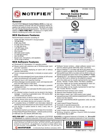 General NCS Hardware Features NCS Software ... - ORR Protection