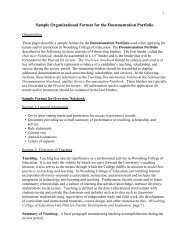 Tenure and Promotion Documentation Portfolio - Woodring College ...