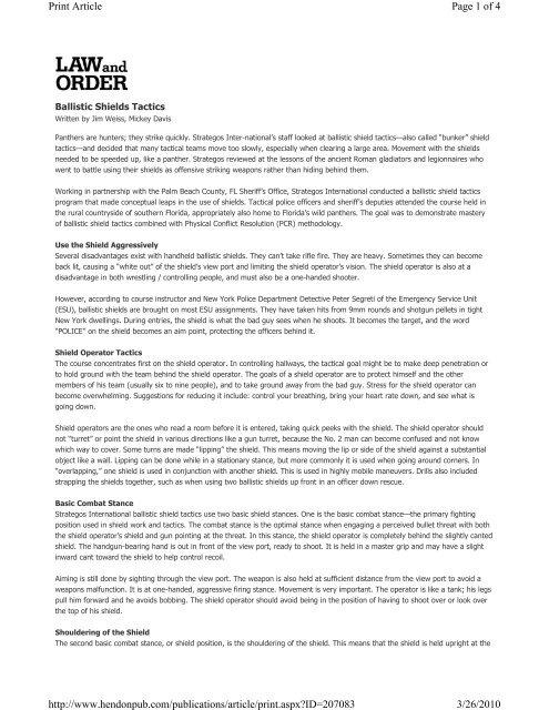 Hendon Publishing - Ballistic Shields Tactics - Strategos International