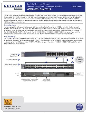 ProSafe® 24- and 48-port Stackable Gigabit L3 Managed Switches ...