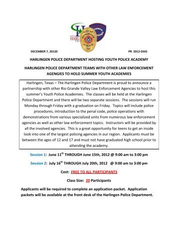 harlingen police department hosting youth police academy ...