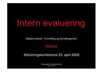 REBUS Afslutningskonference 23. april 2009