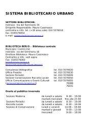 Orari e riferimenti delle singole biblioteche - Comune di Genova