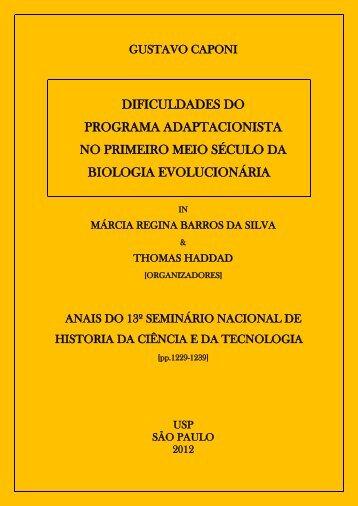 dificuldades do programa adaptacionista no primeiro meio século ...