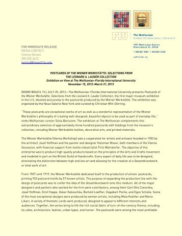 FOR IMMEDIATE RELEASE MEDIA CONTACT ... - Wolfsonian-FIU