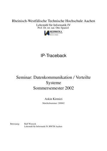 IP-Traceback Seminar: Datenkommunikation / Verteilte ... - Informatik 4