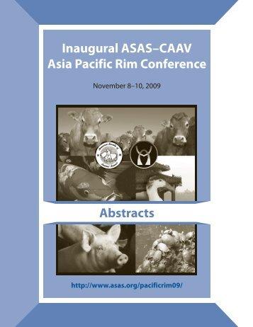 Inaugural ASAS–CAAV Asia Pacif ic Rim Conference Abstracts