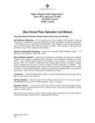 (See Snow Plow Operator List Below) - City of Shaker Heights