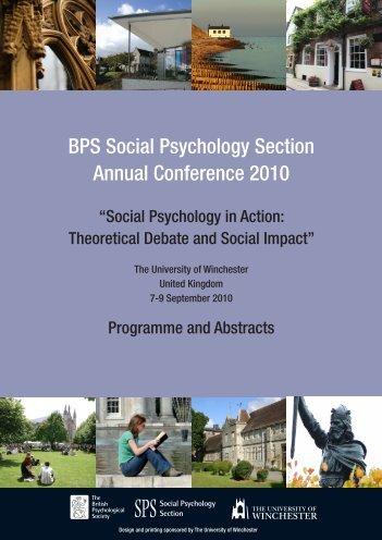 BPS Social Psychology Section Annual Conference 2010
