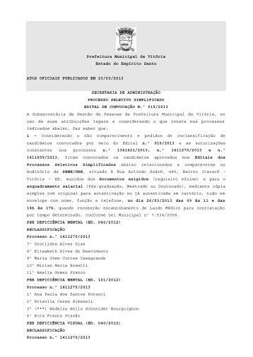 Atos Oficiais publicados em 23/03/2013 - Prefeitura de Vitória