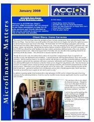 January 2008 Newsletter - ACCION San Diego