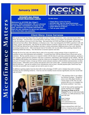 January 2008 Newsletter - ACCION San Diego
