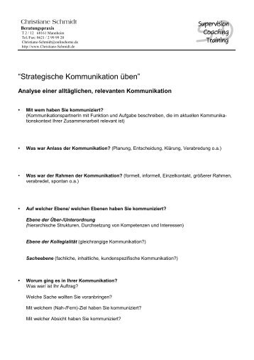 """Strategische Kommunikation üben"" - Christiane Schmidt"