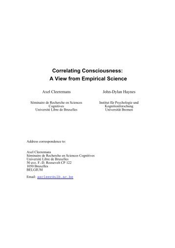Correlating Consciousness: A View from Empirical Science
