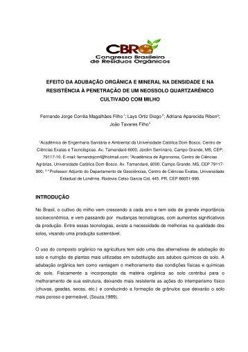 EFEITO DA ADUBAÇÃO ORGÂNICA E MINERAL NA DENSIDADE ...