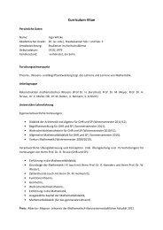Curriculum Vitae - Seminar für Mathematik und ihre Didaktik