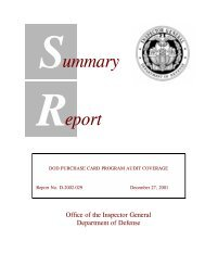DoD Purchase Card Program Audit Coverage - Council of the ...