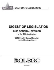 DIGEST OF LEGISLATION - Utah State Legislature - Utah.gov