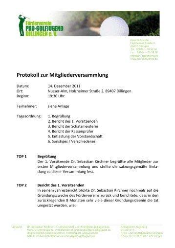 Protokoll zur Mitgliederversammlung - Golfclub Dillingen
