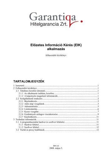 Előzetes Információ Kérés (EIK) alkalmazás ... - Hitelgarancia Zrt.